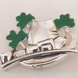 Jewelry - Leprechaun Hat Pendant Pin Shamrocks St Patrick's